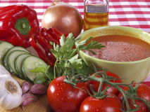 Gazpacho Andaluz. Is a raw vegetable soup native from the Spanish region Andalucia. It is served cold as starter Royalty Free Stock Images