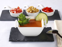 Gazpacho Andaluz. Is a raw vegetable soup native from the Spanish region Andalucia. It is served cold as starter Stock Images