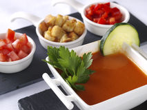 Gazpacho Andaluz. Is a raw vegetable soup native from the Spanish region Andalucia. It is served cold as starter Royalty Free Stock Photos