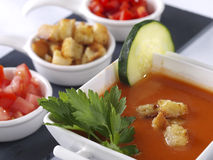 Gazpacho Andaluz. Is a raw vegetable soup native from the Spanish region Andalucia. It is served cold as starter Royalty Free Stock Photo
