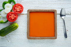 Gazpacho andaluz tomato soup and vegetables. Gazpacho andaluz is a fresh tomato soup and vegetables of Andalusian Spain Royalty Free Stock Image