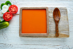 Gazpacho andaluz tomato soup and vegetables. Gazpacho andaluz is a fresh tomato soup and vegetables of Andalusian Spain Royalty Free Stock Photo