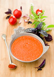 Gazpacho with basil Royalty Free Stock Photos