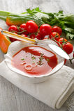Gazpacho on bowl Royalty Free Stock Image