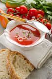 Gazpacho on bowl Stock Photo