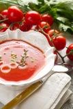 Gazpacho on bowl Royalty Free Stock Image