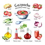 Gazpacho. Cold Refreshing summer soup. Ingredients. Watercolor hand drawn illustration, isolated on white background. Gazpacho. Cold Refreshing summer soup Royalty Free Stock Photography