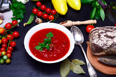 Gazpacho cold soup in a white round ceramic plate Royalty Free Stock Images
