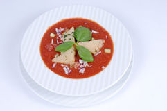 Gazpacho with croutons [3]. Bowl of fresh tomato soup with croutons Stock Photography