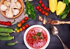 Gazpacho de la sopa de verduras en una placa redonda blanca Imagenes de archivo