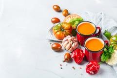 Gazpacho de la sopa de la pimienta del tomate con ajo Foto de archivo