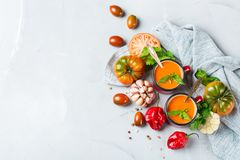 Gazpacho de la sopa de la pimienta del tomate con ajo Foto de archivo libre de regalías