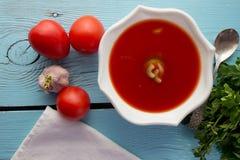 Gazpacho del tomate en el plato blanco Fotos de archivo libres de regalías