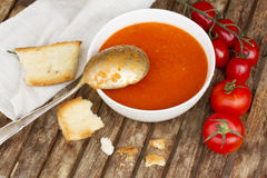 Gazpacho dish close up Royalty Free Stock Images