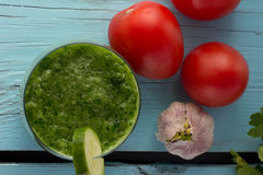 Gazpacho do pepino no vidro Fotos de Stock