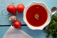 Gazpacho do tomate no prato branco Fotos de Stock Royalty Free
