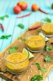 Gazpacho et ingrédients de soupe à tomate au-dessus de fond en bois de turquoise Images stock