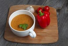 Gazpacho fresco do tomate na placa Fotos de Stock Royalty Free