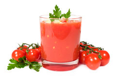 Gazpacho with fresh cherry tomatoes and parsley Stock Images