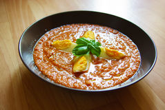 Gazpacho, hiszpański pomidor opierał się zimną jarzynową polewkę Obraz Stock