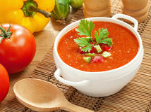 Gazpacho and ingredients. On a table, vegetable soup Stock Photos