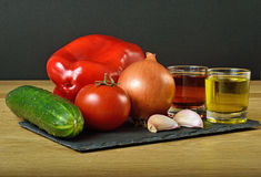 Gazpacho. Ingredients used to do gazpacho Stock Photo
