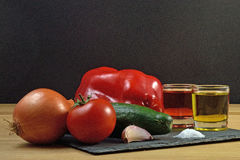 Gazpacho. Ingredients used to do gazpacho Stock Image