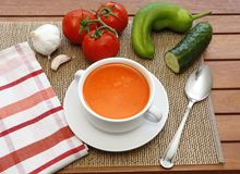 Gazpacho and its ingredients Stock Images