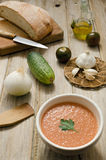 Gazpacho and Knife Stock Photography