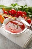 Gazpacho na bacia imagem de stock royalty free