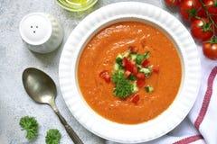 Gazpacho ou salmorejo da sopa do tomate Vista superior Fotografia de Stock Royalty Free