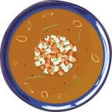 Gazpacho polewka w błękitnym talerzu Obrazy Stock