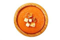 Gazpacho polewka z croutons Obraz Stock