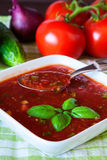Gazpacho served with basil Royalty Free Stock Image