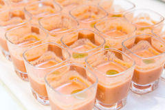 Gazpacho. Shots on a buffet table Royalty Free Stock Photo