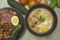 Gazpacho, sopa fria com vegetais Fotos de Stock