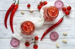Gazpacho soppa med nya ingredienser - tre varma peppar för röd chili, lökcirklar, vitlök och små körsbärsröda tomater Arkivfoto