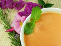 Gazpacho soup. A cold, Spanish liquid salad that is popular in warmer areas and during the summer. Andalusian food and drink Stock Image