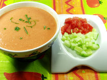 Gazpacho Soup. A cold, Spanish liquid salad that is popular in warmer areas and during the summer. Andalusian food and drink Royalty Free Stock Photo