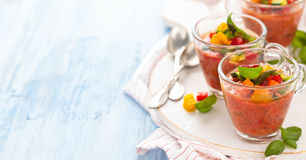 Gazpacho soup in cups. Royalty Free Stock Images