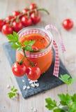 Gazpacho soup. Glass of delicious gazpacho soup Stock Photos