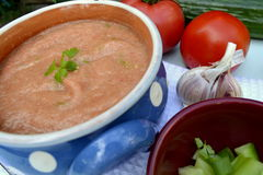 Gazpacho. Is a soup made of raw vegetables and served cold, usually with a tomato base Royalty Free Stock Photos