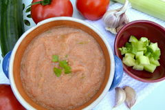 Gazpacho. Is a soup made of raw vegetables and served cold, usually with a tomato base Stock Image