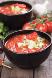Gazpacho soup. Gazpacho, spanish raw tomato and vegetable soup, refreshing summer meal Royalty Free Stock Images