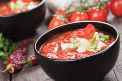 Gazpacho soup. Gazpacho, spanish raw tomato and vegetable soup, refreshing summer meal Royalty Free Stock Image