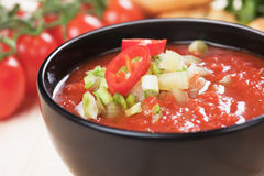 Gazpacho soup. Gazpacho, spanish raw tomato and vegetable soup, refreshing summer meal Stock Photography