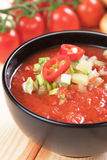 Gazpacho soup. Gazpacho, spanish raw tomato and vegetable soup, refreshing summer meal Stock Images