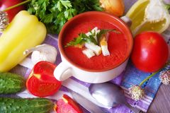 Gazpacho soup with vegetables Royalty Free Stock Images
