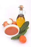 Gazpacho ( spanish cold soup ). Gazpacho (very popular spanish cold soup royalty free stock photo