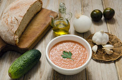 Gazpacho. The Spanish-style soup we call gazpacho most nearly resembles a sort of chunky liquid salad, with lots of fresh, uncooked vegetables suspended in a Royalty Free Stock Images